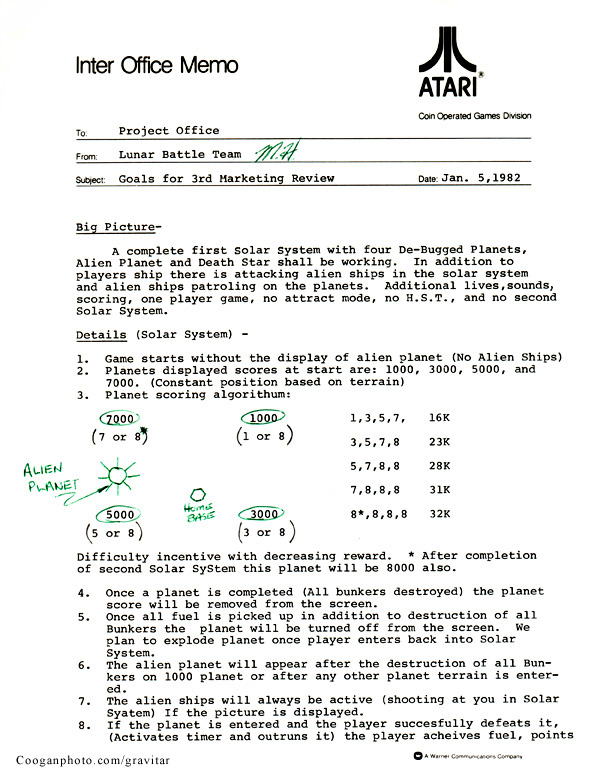 Mike Hally's Gravitar binder - original Atari documents