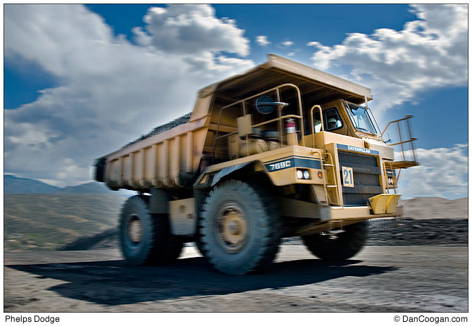 large truck in motion, Phelps Dodge, Copper Mining,