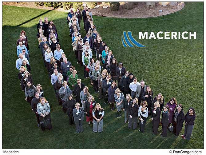 Group of 100 people in the shape of the Macerich logo
