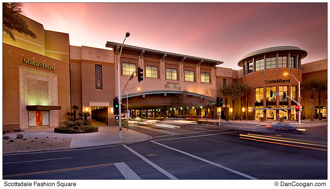 traffic in motion at dusk, Scottsdale Fashion Square, Scottsdale, AZ, Westcor, Macerich