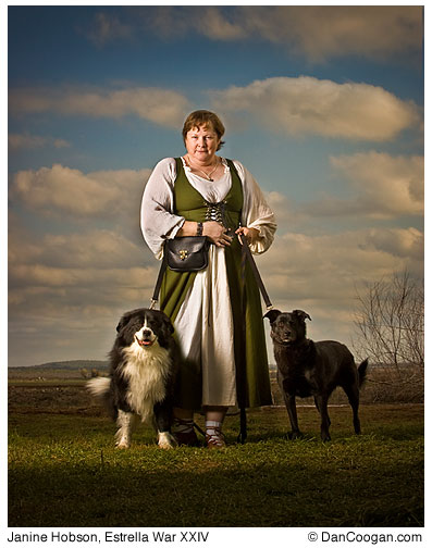 Janine Hobson with her 2 dogs at the Estrella War XXIV