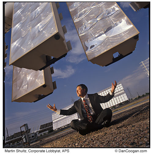 Martin Shultz, Corporate Lobbyist, APS, with giant solar panels