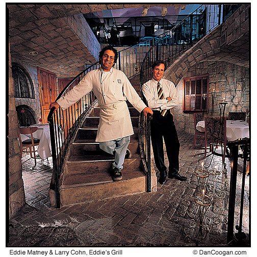 Eddie Matney & Larry Cohn on the staircase in Eddie's grill