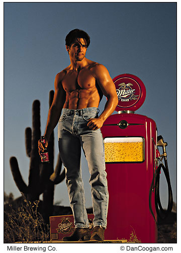 Miller Brewing Company, male modee standing in front of a gas pump filled with beer, advertisement