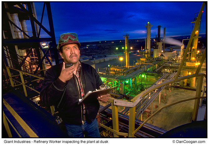 Giant Industries - Refinery Worker, inspecting the plant at dusk